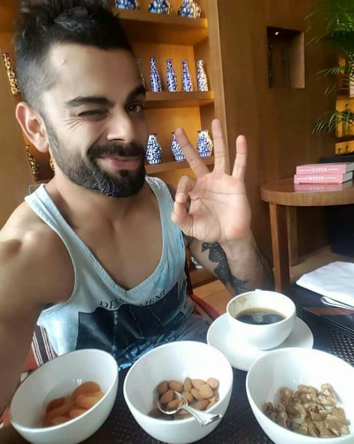 That's how I feel when I have my favorite nibbles & a cup of black coffee in front of me. Stay Healthy, Stay Happy - Virat Kohli