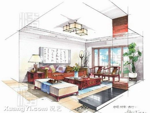 interior design drawings living room analysis another example of copic marker used to create varying textures this is a two point perspective interior - Interior Design Sketches