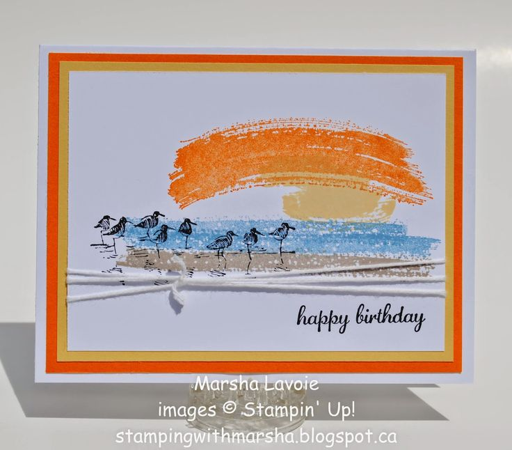"""By Marsha Lavoie. Sandpiper stamp from """"Wetlands,"""" background stamp from Work of Art,""""  sentiment from """"Express Yourself,"""" all by Stampin' Up."""