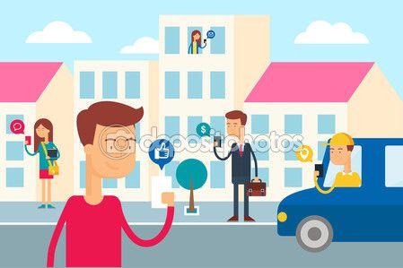 социальное сетевое понятие - люди в городе используют свои смартфоны. плоская векторная иллюстрация стиля для сети — Векторная картинка #57339907