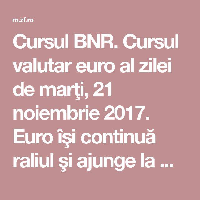 Cursul BNR. Cursul valutar euro al zilei de marţi, 21 noiembrie 2017. Euro îşi continuă raliul şi ajunge la maximul tuturor timpurilor | Ziarul Financiar