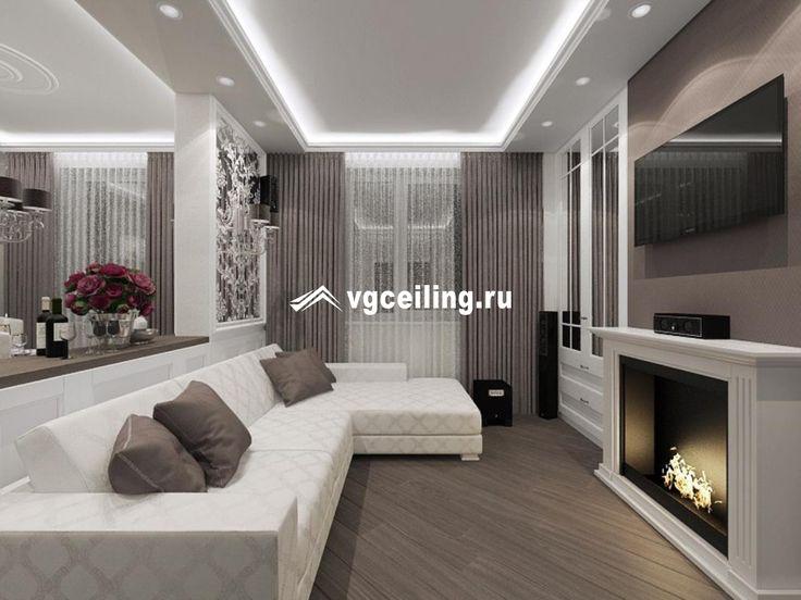 Матовый потолок с подсветкой в гостиной комнате http://www.vgceiling.ru/matovyj-natyazhnoj-potolok-v-gostinuyu-22kv.m/