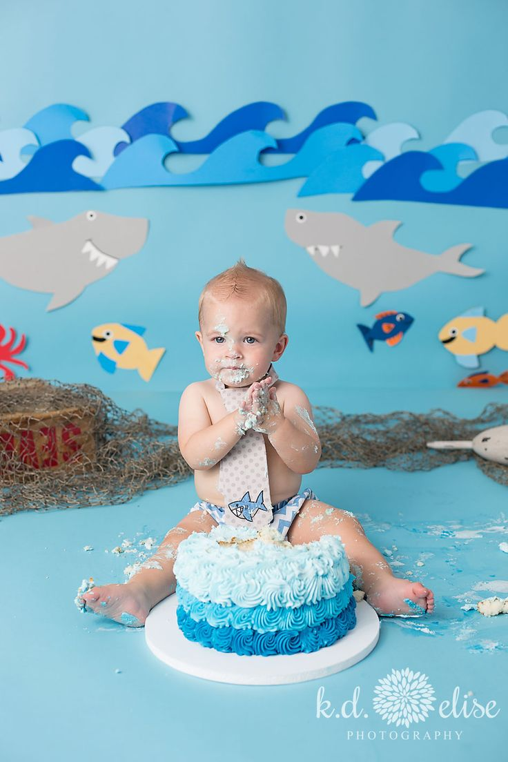 Shark Themed First Birthday Session Baby boy first