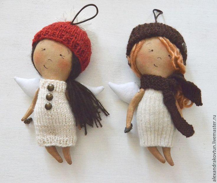 Купить подарочные ангелочки Зимние - бежевый, кофейная игрушка, подарок, подарок девушке, подарок подруге