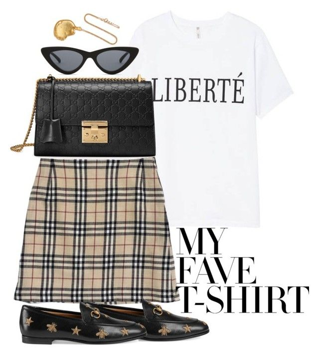 """""""Untitled #5157"""" by theeuropeancloset on Polyvore featuring Burberry, Le Specs, Gucci, Alighieri and MyFaveTshirt"""