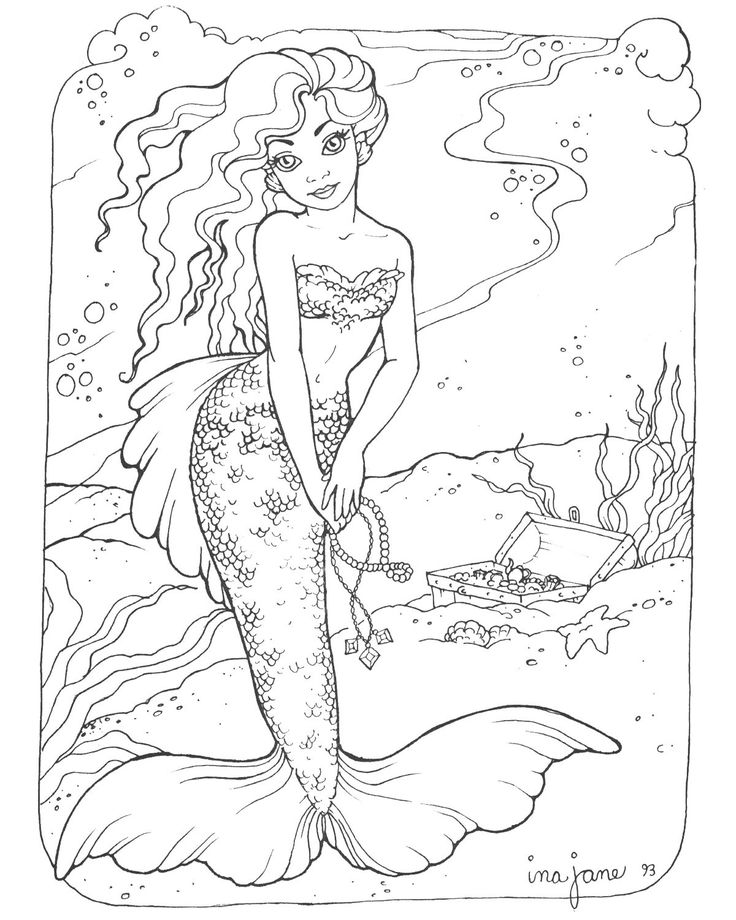 178 best coloring fantasy- mermaids and sea creatures images on - new little mermaid swimming coloring pages
