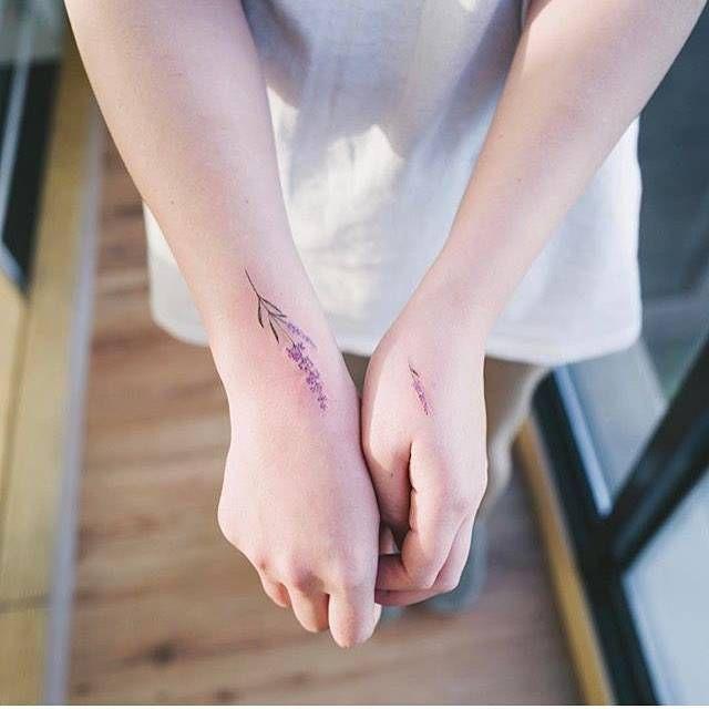 Matching lavender tattoos. Artista Tatuador: Sol Tattoo