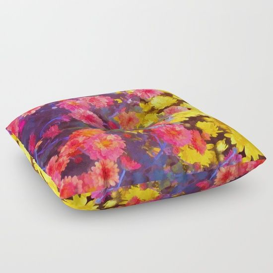 """Fall Blooms"" Floor Pillow   by Lillian Hibiscus #society6 #pillow #floral #print"