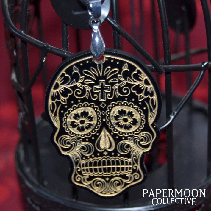 Black and Gold Sugar Skull Necklace Medium by Papermoon Collective, for sale on http://hellopretty.co.za