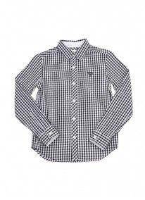 Long-sleeved gingham shirt Dark blue
