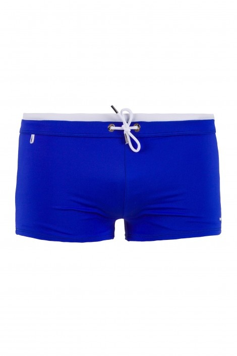 JHON BW - beachwear - Man - Gas Jeans - Bathing trunks, tight-fitting short boxers, two-tone waist sash, embroidered logo. Colour: blue
