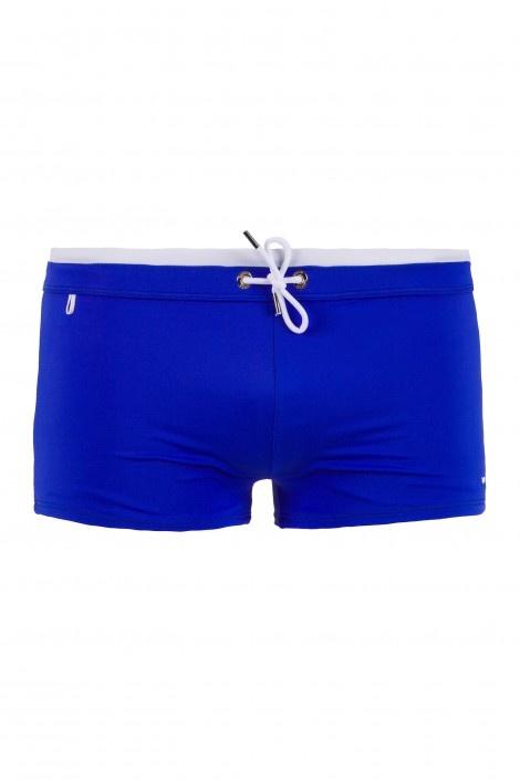 JHON BW - beachwear - Man - Gas Jeans - Bathing trunks, tight-fitting short boxers, two-tone waist sash, embroidered logo. Colour: blue
