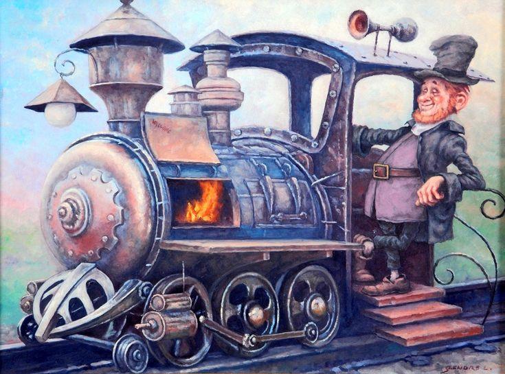 The railroad guard going (Indul a bakter) - artist: Szász Endre László