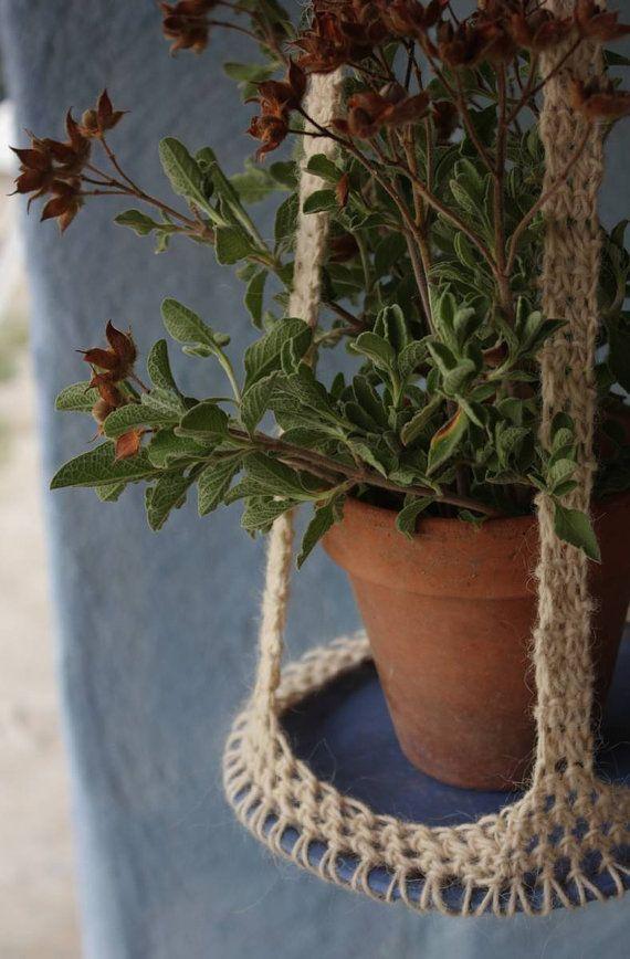 Portavasi da appendere in ceramica e lana di NidaCeramiche su Etsy