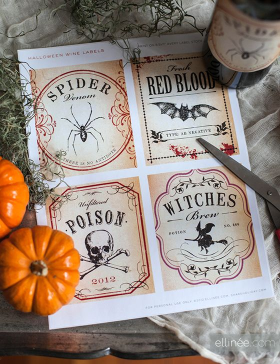 diy printable halloween wine bottle labels for adding spooky flair to your party beverages - Pinterest Halloween Printables