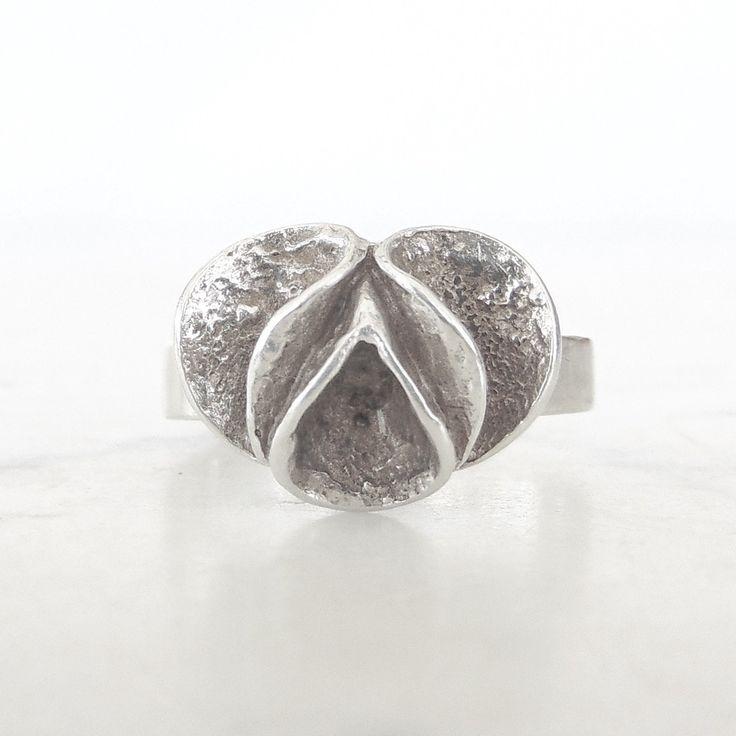 Theresia Hvorslev for Mema vintage silver flower ring | Sweden | 1978 by KoruJewelleryCo on Etsy