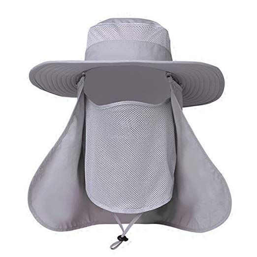 2b7037d3d266ab EINSKEY Sun Hat with Removable Neck Face Flap for Men and Women, Outdoor Sun  Protection Waterproof Bucket Hat Breathable Boonie Cap for Safari Fishing  ...