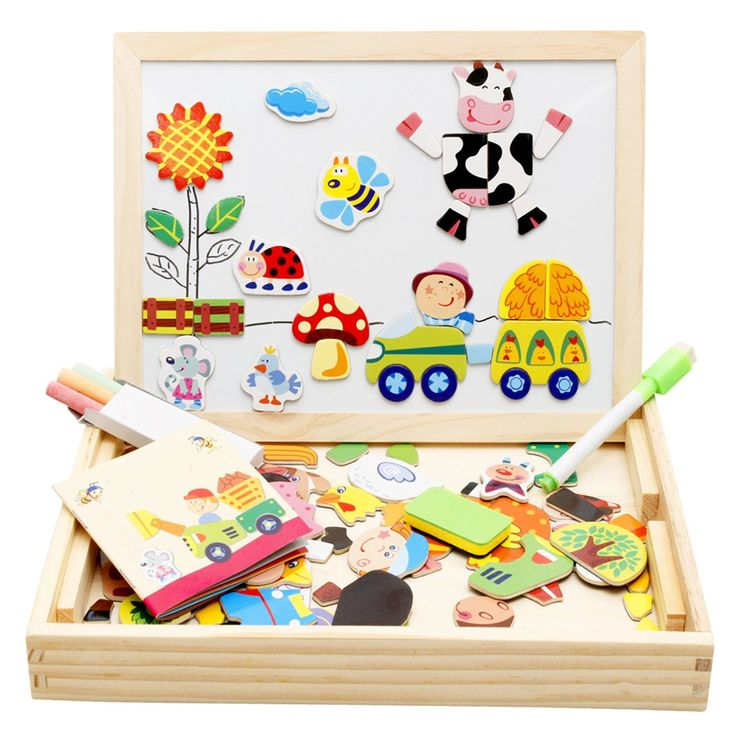 Lewo Wooden Magnetic Jigsaw Puzzles Educational Toys Art ...
