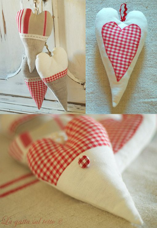 country hearts french style linen and checks, elongated heart shape- lavender sachet