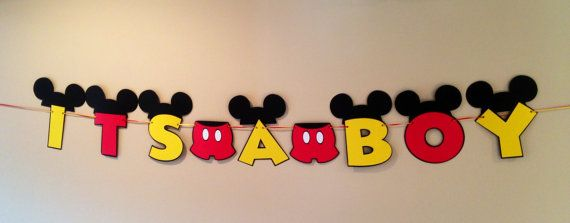 It's A Boy Mickey Mouse Baby Shower Banner by CutestBowsOnTheBlock