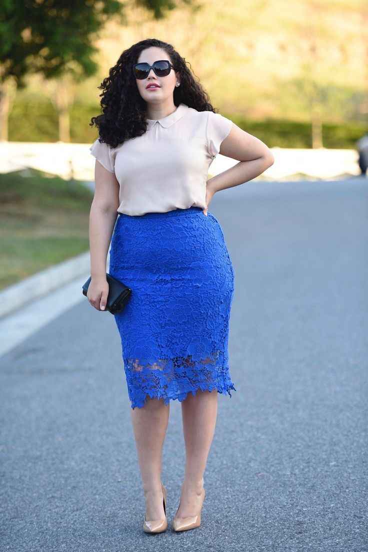 Sexy cobalt blue skirt and a nude collared top with classy pumps! Look and feel your best with us at hookedupshapewear.com!