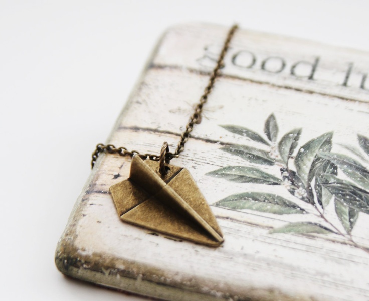Whimsy Paper Plane Necklace. Antique Gold. Unique Gift. Unisex Gift (VNL-59). $15.00, via Etsy.