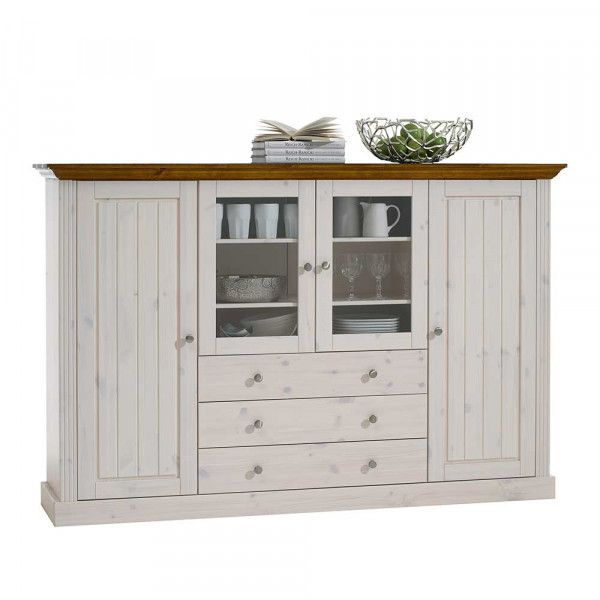 Highboard Vitrine Vagenta In Weiss In 2020 Wohnzimmermobel Landhausstil Side Board Schrank Landhausstil