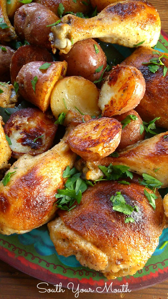 Buttermilk Ranch Roasted Chicken with Potatoes. This whole meal cooks in one pan. Winner, winner chicken dinner!