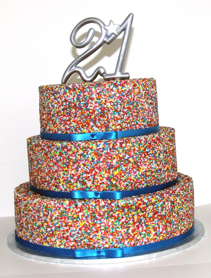 3 Tier Hundreds and Thousands Cake Like us at www.facebook.com/melianndesigns