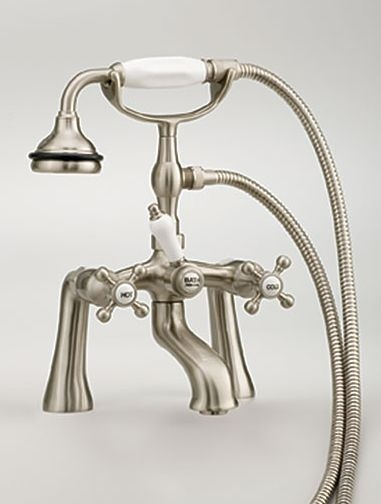Deck Mount Claw Foot Tub Hand Shower Faucet with cross handles by Cheviot  Item#: C5106BN #Christmas