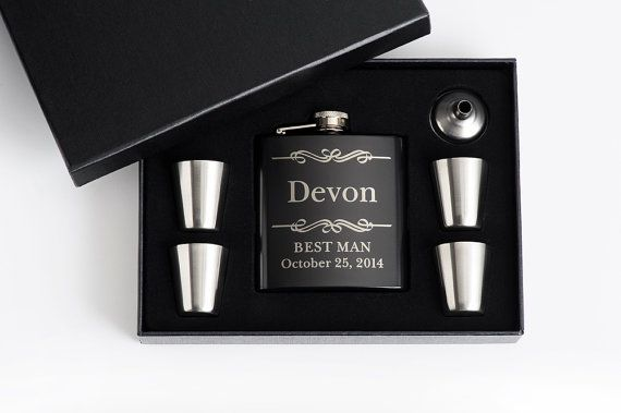 6, Personalized Groomsmen Gift, Engraved Flask Set, Stainless Steel Flask, Personalized Best Man Gift, 6 Flask Sets on Etsy, 99,67€