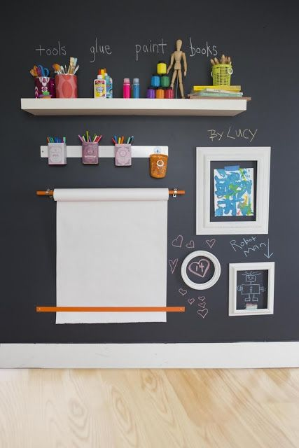 Black chalkboard paint on the walls, roll of paper and frames for easy art station. Perfect for the creative child.