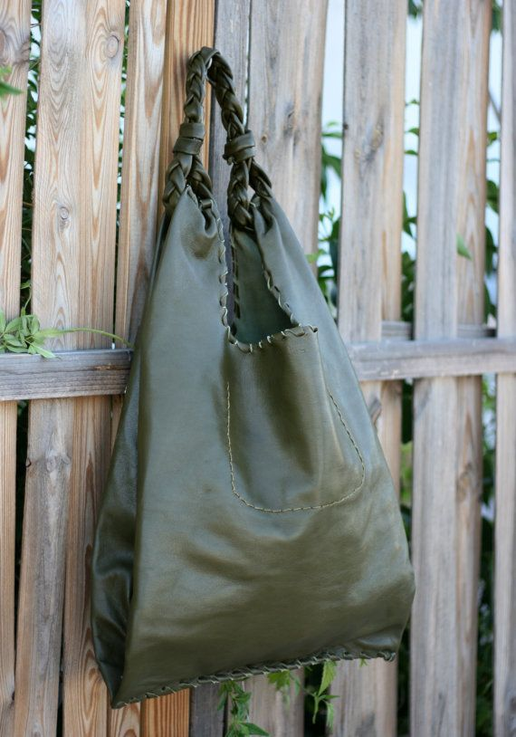 Olive Green Leather Hobo Bag  Every day Shopping by EleannaKatsira