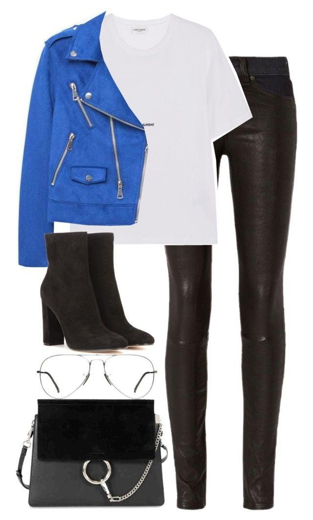 """""""Untitled #3231"""" by elenaday ❤ liked on Polyvore featuring rag & bone, Yves Saint Laurent, MANGO, Chloé, Gianvito Rossi and Ray-Ban"""