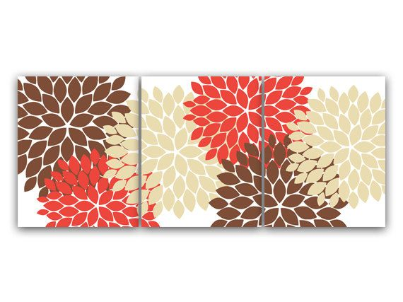 Home Decor Wall Art CANVAS Or PRINTS, Coral And Brown Flower Burst Art,  Bathroom Wall Decor, Coral Bedroom Decor, Nursery Wall Art   HOME51