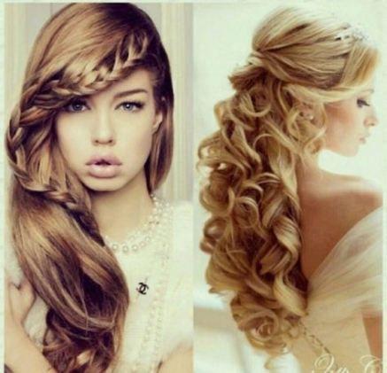 Trendy Hairstyles Formal Half Up Braids Curls Ideas #Braids #curls #Formal #Hairstyle #hairstyles