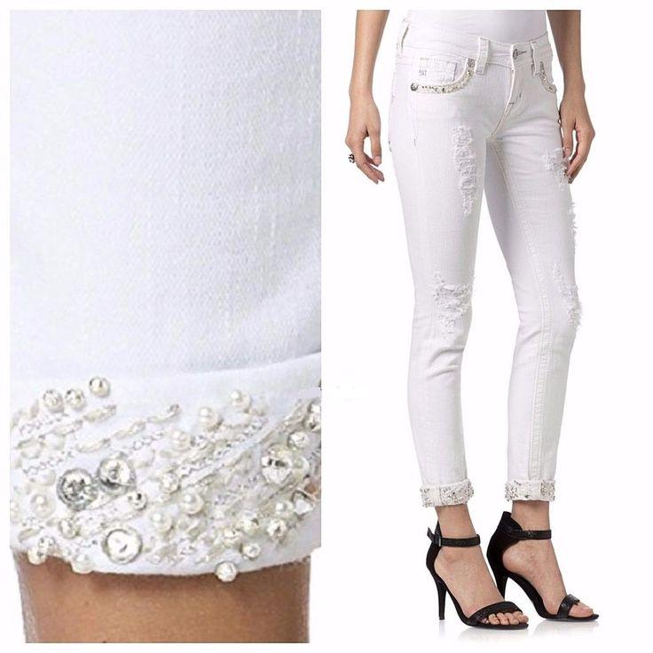 Miss Me Size 28, 32, White Electric Cuffed SKINNY Jeans JP7214CK3 $109.50 #MissMe #SignatureCuffedSkinnySlimSkinny