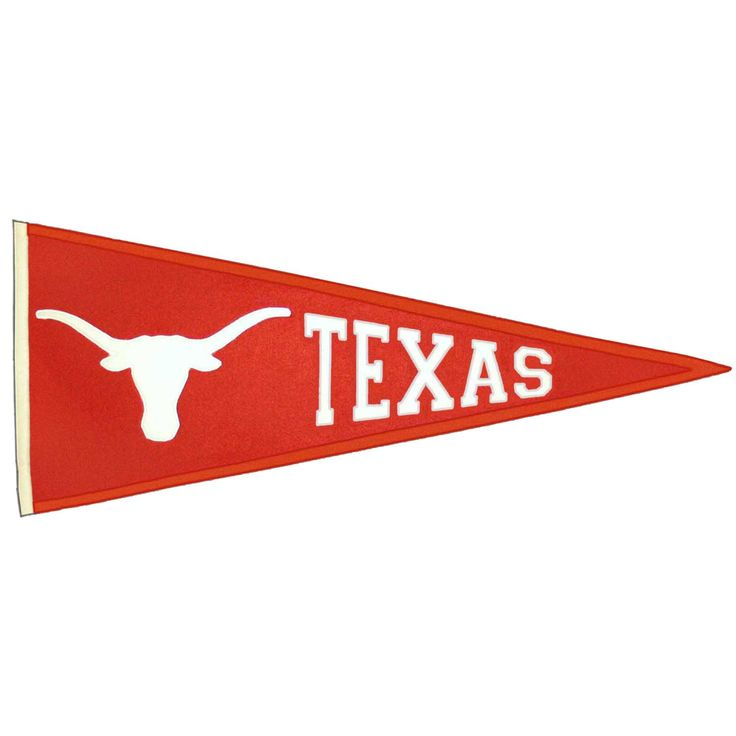 """This beautifully embroidered 32"""" x 13"""" wool pennant commemorates Texas. A """"Must Have"""" for all Texas super-fans."""