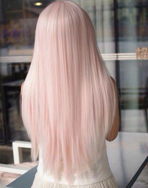 light hair pink straight
