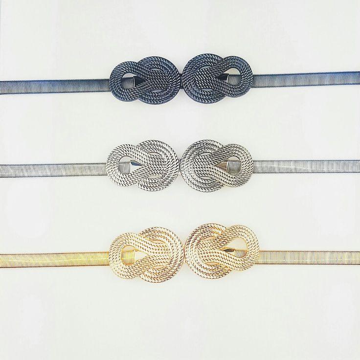 Cinturones metalizados en color plateado, dorado y negro con cintura elástica para vestido de fiesta