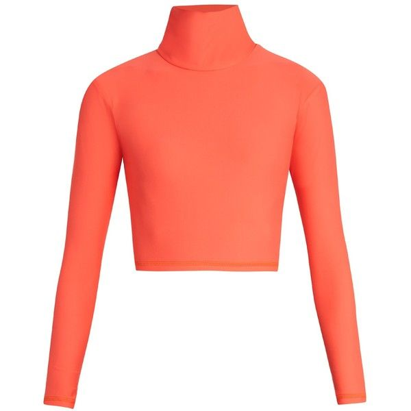 Salt Gypsy High-neck cropped performance rash-guard top ($89) ❤ liked on Polyvore featuring swimwear, rash guard swimwear, coral swimwear, neon swimwear, rashguard swimwear and pink swimwear