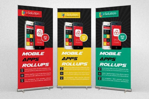 Mobile App Business Roll Up Banners by Business Flyers on @creativemarket