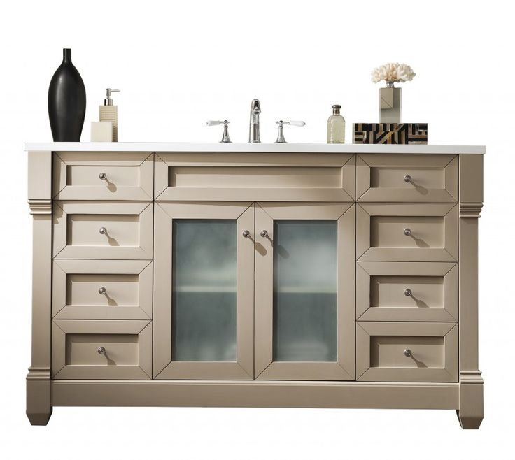 60 Inch Single Sink Bathroom Vanity Sea Gull Finish With White Solid Surface