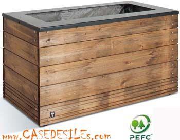jardiniere bois prix cass bac fleurs bois m tal rectangulaire 45x90x50 jardin. Black Bedroom Furniture Sets. Home Design Ideas