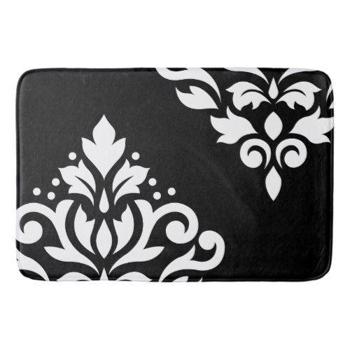 Scroll Damask Art I White on Black Bath Mat