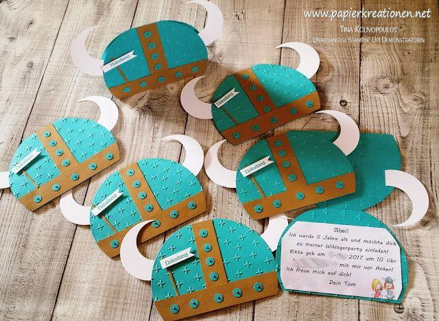 Einladungen zu einem Wicki-Kindergeburtstag als Wikingerhelm, gefunden auf www.Papierkreationen.net