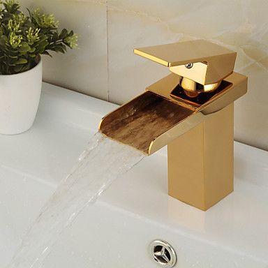 Modern Middenset Waterval with Keramische ventiel Single Handle Een Hole for Ti-PVD Wastafelkranen