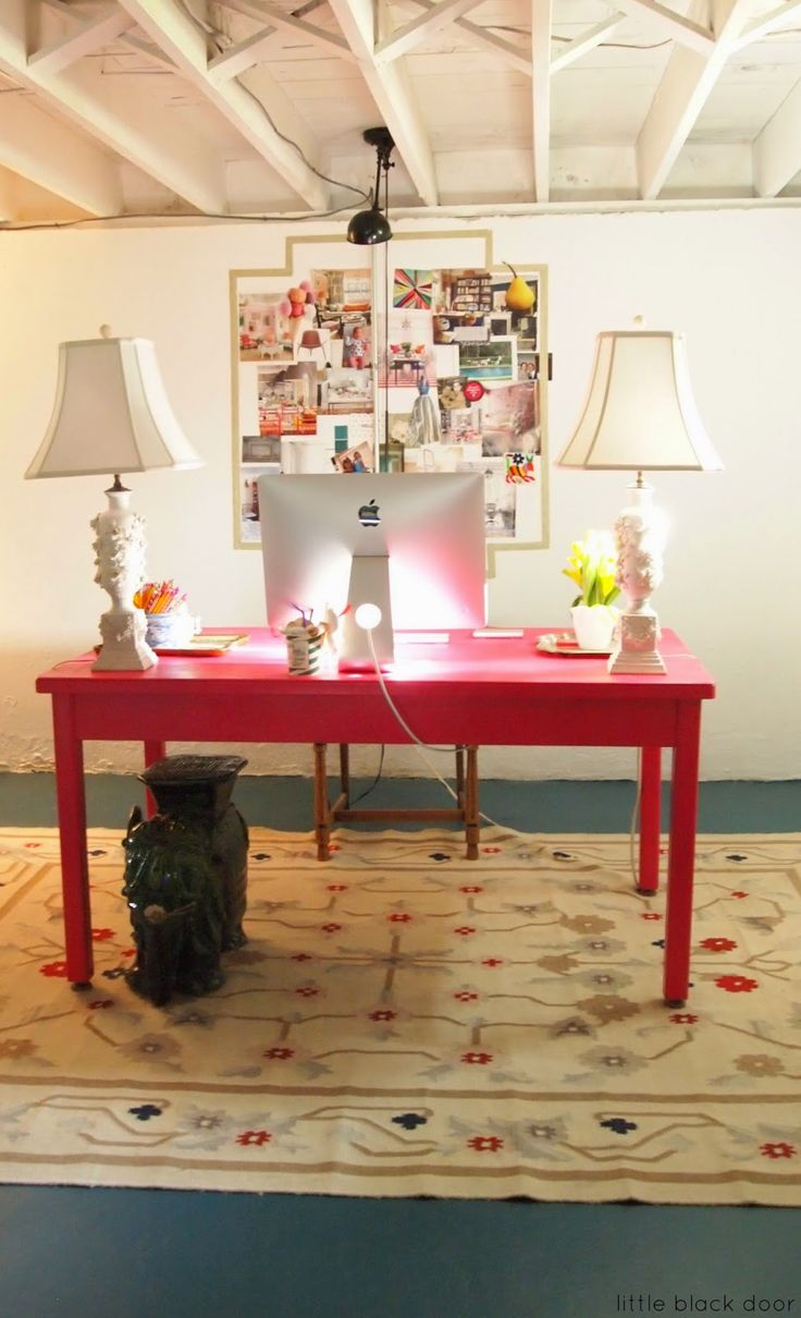 basement office ideas. unfinished basement space converted into cute office by painting the floor and ceiling white ideas