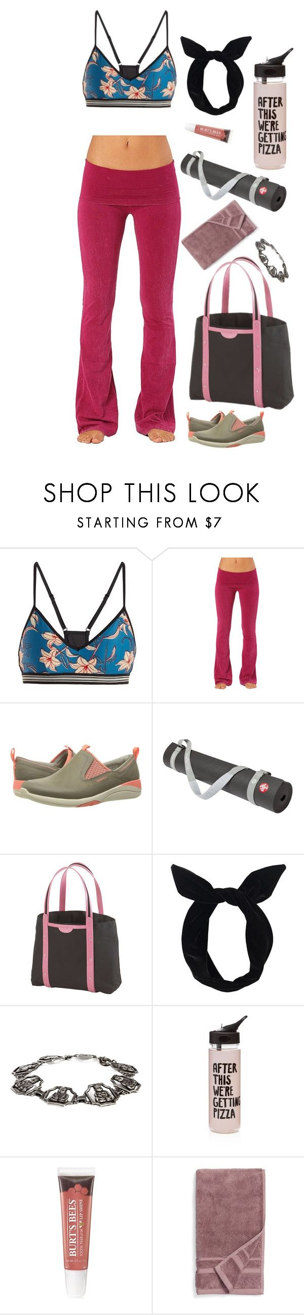 """""""Cheerful Chakras"""" by rebeccalange ❤ liked on Polyvore featuring The Upside, Electric Yoga, Merrell, Manduka, Crescent Moon Yoga, Lulu in the Sky, ban.do, Burt's Bees and Waterworks"""