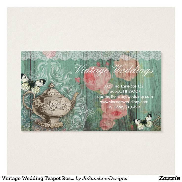 Vintage Wedding Teapot Roses Green Butterflies Business Card
